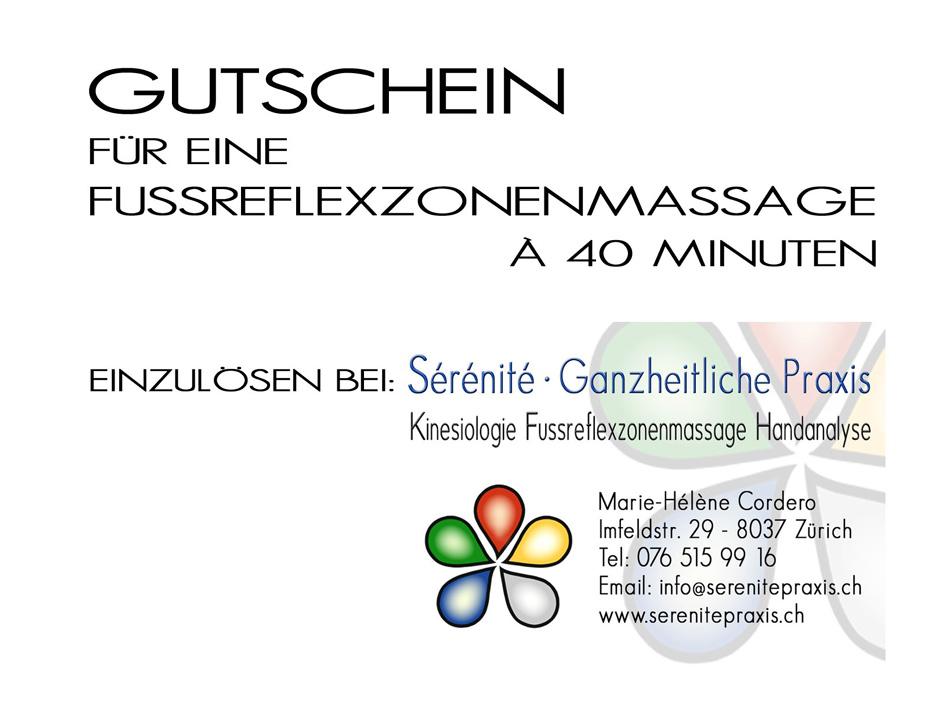 Fussreflexzonenmassage Gutschein Sérénité Praxis Zürich 40Min.