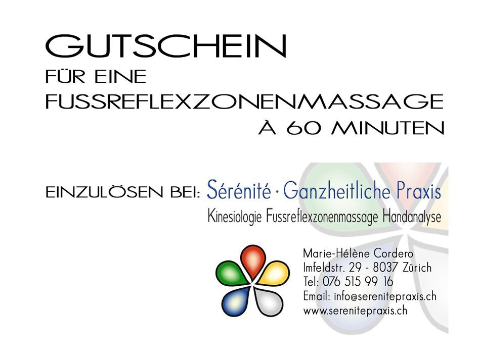 Fussreflexzonenmassage Gutschein Sérénité Praxis Zürich 60Min.