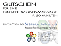 Preise Fussreflexzonenmassage Gutschein Sérénité Praxis Zürich