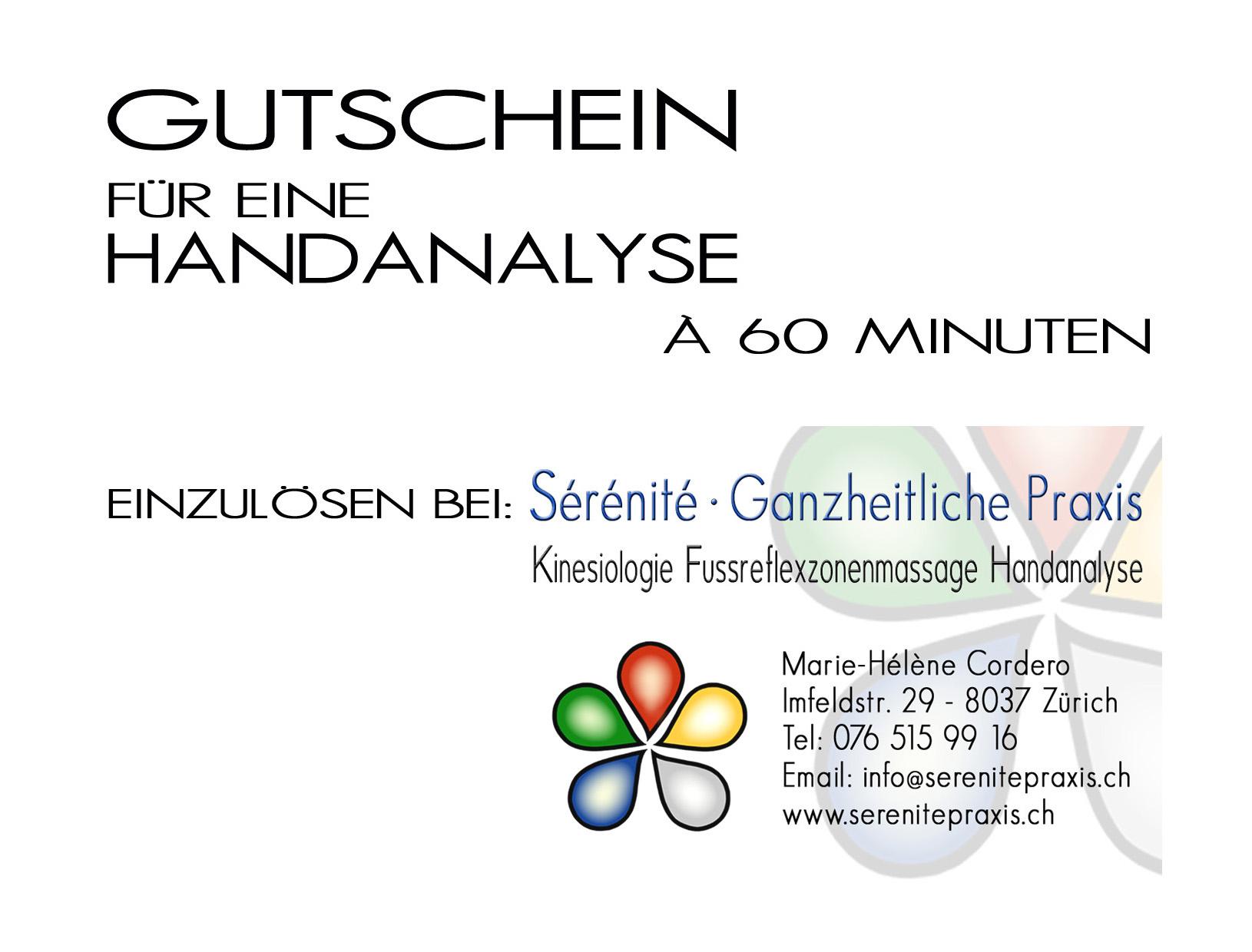 Handanalyse Gutschein 60Min. Sérénité Praxis Zürich