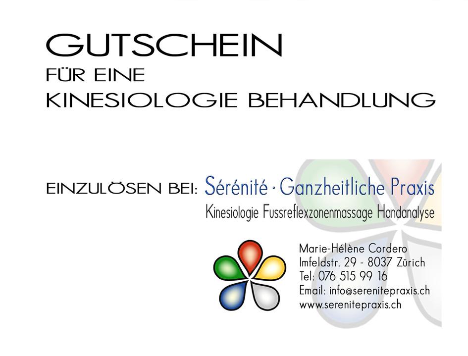 Kinesiologie Gutschein Vorderseite Sérénité Praxis Zürich