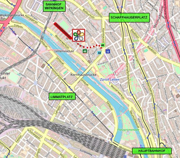 Lageplan Sérénité Ganzheitliche Praxis Zürich